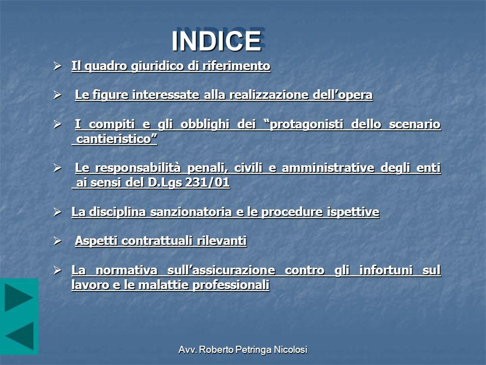 Avv. Roberto Petringa Nicolosi Il quadro giuridico di riferimento Il quadro giuridico di riferimento Il quadro giuridico di riferimento Il quadro giur