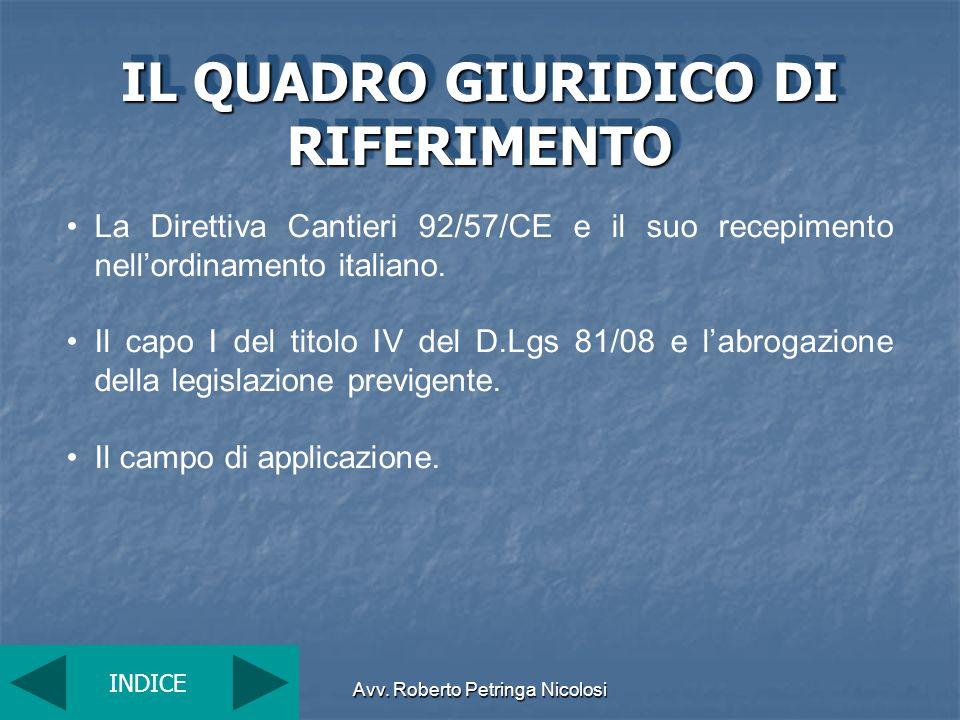 Avv. Roberto Petringa Nicolosi IL QUADRO GIURIDICO DI RIFERIMENTO La Direttiva Cantieri 92/57/CE e il suo recepimento nellordinamento italiano. Il cap