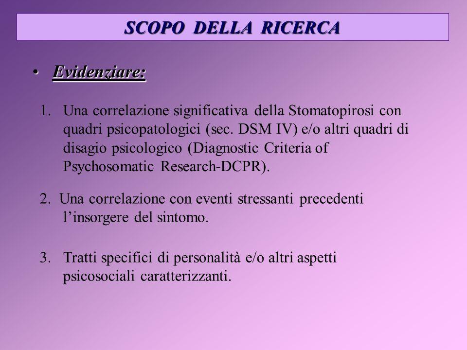 SCOPO DELLA RICERCA 1. 1.Una correlazione significativa della Stomatopirosi con quadri psicopatologici (sec. DSM IV) e/o altri quadri di disagio psico
