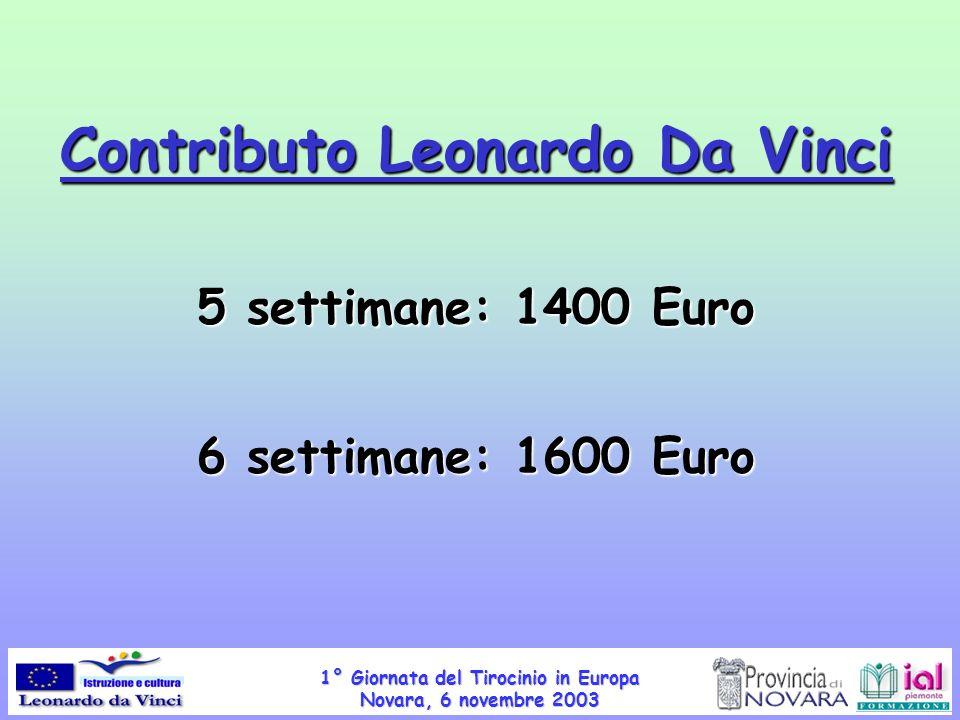1° Giornata del Tirocinio in Europa Novara, 6 novembre 2003 Contributo Leonardo Da Vinci 5 settimane: 1400 Euro 6 settimane: 1600 Euro