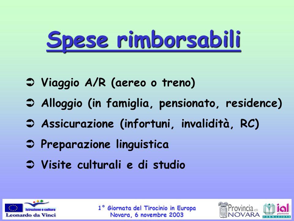 1° Giornata del Tirocinio in Europa Novara, 6 novembre 2003 Spese rimborsabili Viaggio A/R (aereo o treno) Alloggio (in famiglia, pensionato, residenc