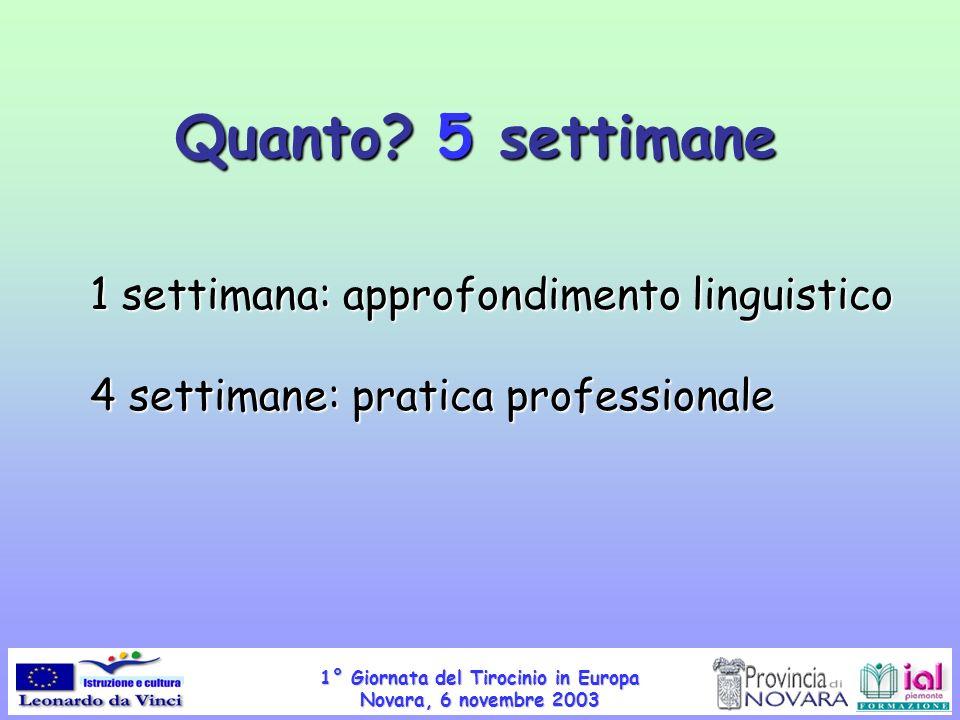 1° Giornata del Tirocinio in Europa Novara, 6 novembre 2003 Quanto? 5 settimane 1 settimana: approfondimento linguistico 4 settimane: pratica professi