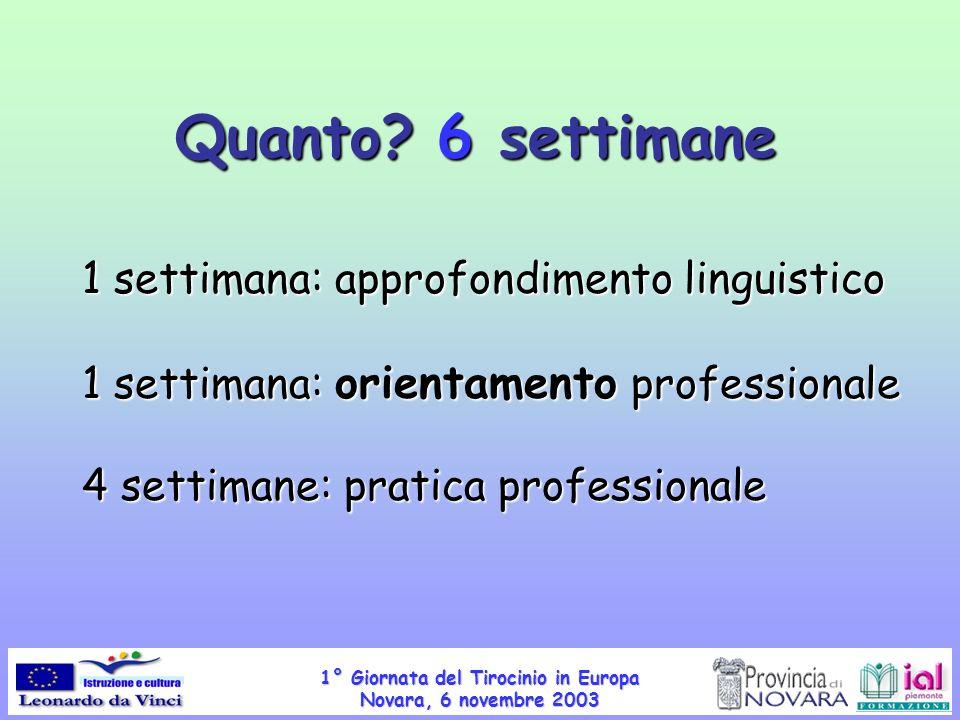1° Giornata del Tirocinio in Europa Novara, 6 novembre 2003 Quanto? 6 settimane 1 settimana: approfondimento linguistico 1 settimana: orientamento pro