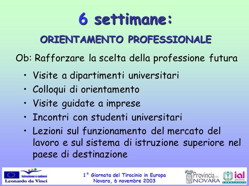 1° Giornata del Tirocinio in Europa Novara, 6 novembre 2003 Visite a dipartimenti universitari Colloqui di orientamento Visite guidate a imprese Incon