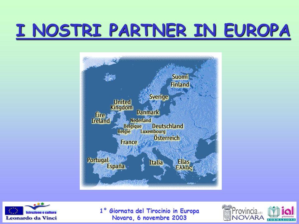 1° Giornata del Tirocinio in Europa Novara, 6 novembre 2003 I NOSTRI PARTNER IN EUROPA