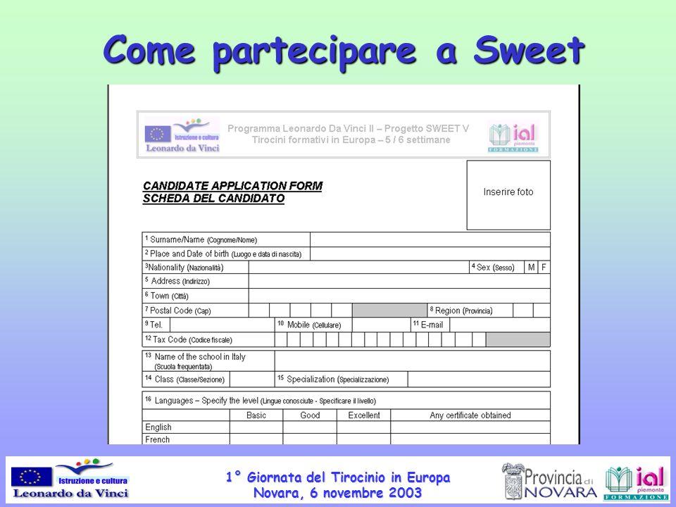 1° Giornata del Tirocinio in Europa Novara, 6 novembre 2003 Come partecipare a Sweet