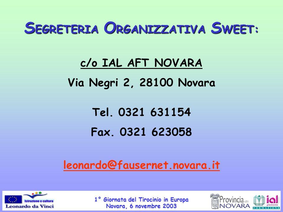 1° Giornata del Tirocinio in Europa Novara, 6 novembre 2003 S EGRETERIA O RGANIZZATIVA S WEET: c/o IAL AFT NOVARA Via Negri 2, 28100 Novara Tel. 0321