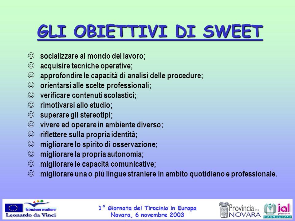 1° Giornata del Tirocinio in Europa Novara, 6 novembre 2003 GLI OBIETTIVI DI SWEET socializzare al mondo del lavoro; acquisire tecniche operative; app