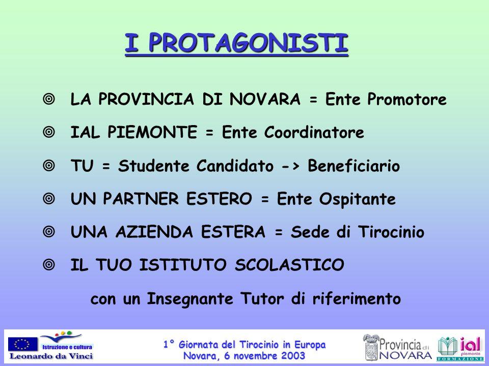 1° Giornata del Tirocinio in Europa Novara, 6 novembre 2003 I PROTAGONISTI LA PROVINCIA DI NOVARA = Ente Promotore IAL PIEMONTE = Ente Coordinatore TU