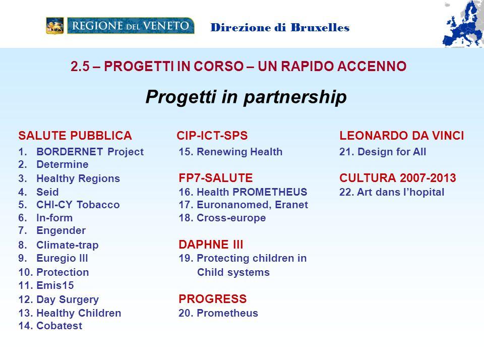 2.5 – PROGETTI IN CORSO – UN RAPIDO ACCENNO Direzione di Bruxelles SALUTE PUBBLICA CIP-ICT-SPS LEONARDO DA VINCI 1.BORDERNET Project 15.