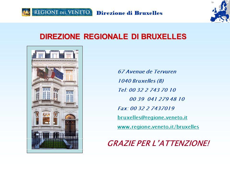 DIREZIONE REGIONALE DI BRUXELLES 67 Avenue de Tervuren 1040 Bruxelles (B) Tel: 00 32 2 743 70 10 00 39 041 279 48 10 Fax: 00 32 2 7437019 bruxelles@regione.veneto.it www.regione.veneto.it/bruxelles GRAZIE PER LATTENZIONE.