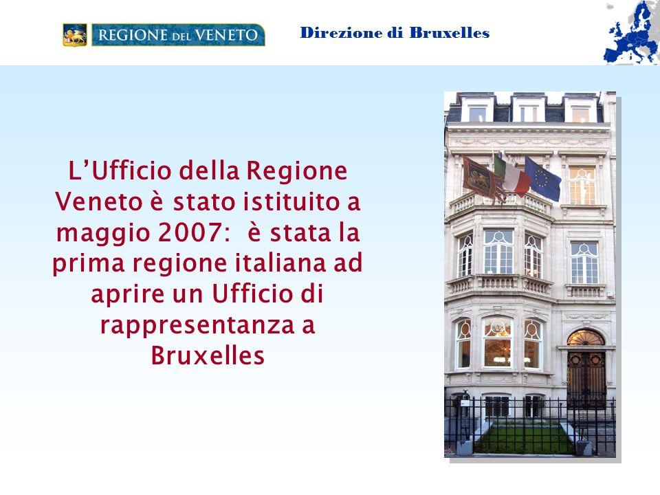 La Struttura della CASA VENETO Direttore 1 Vice Direttore - 3 Funzionari Regionale - 7 consulenti a BXL + 4 in Veneto (VinE) - stagisti (occasionalmente) Direzione di Bruxelles www.regione.veneto.it./bruxelles + Agenzie Regionali (ad es.