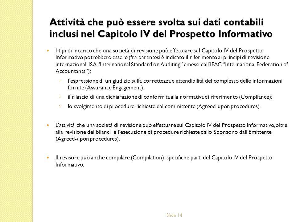 Slide 14 Attività che può essere svolta sui dati contabili inclusi nel Capitolo IV del Prospetto Informativo I tipi di incarico che una società di rev