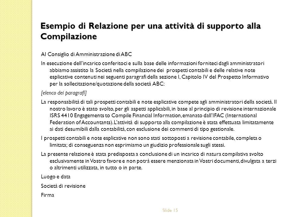Slide 15 Esempio di Relazione per una attività di supporto alla Compilazione Al Consiglio di Amministrazione di ABC In esecuzione dellincarico conferi