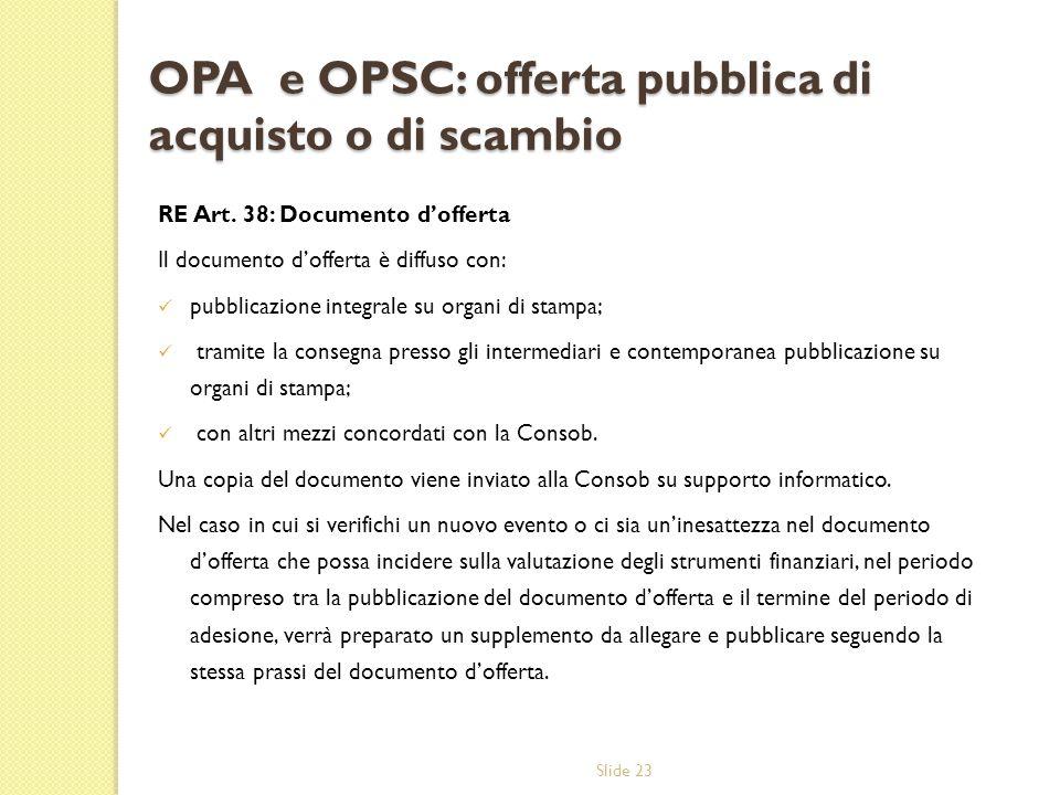 Slide 23 OPA e OPSC: offerta pubblica di acquisto o di scambio RE Art. 38: Documento dofferta Il documento dofferta è diffuso con: pubblicazione integ