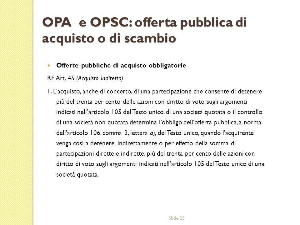 Slide 25 OPA e OPSC: offerta pubblica di acquisto o di scambio Offerte pubbliche di acquisto obbligatorie RE Art. 45 (Acquisto indiretto) 1. L'acquist