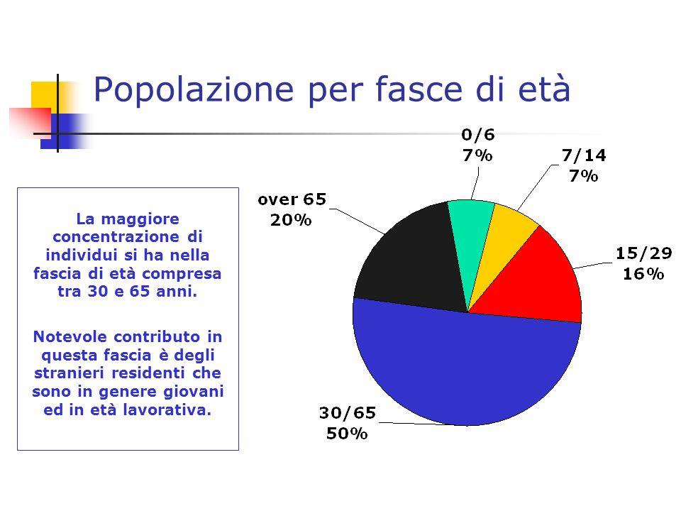 Popolazione per fasce di età La maggiore concentrazione di individui si ha nella fascia di età compresa tra 30 e 65 anni.