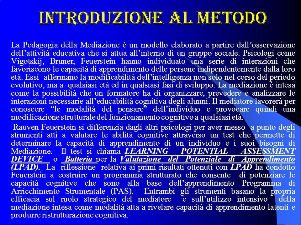 Introduzione al metodo La Pedagogia della Mediazione è un modello elaborato a partire dallosservazione dellattività educativa che si attua allinterno di un gruppo sociale.