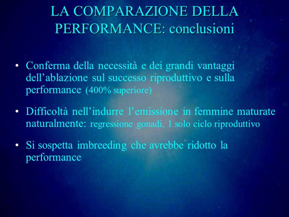 LA COMPARAZIONE DELLA PERFORMANCE: conclusioni Conferma della necessità e dei grandi vantaggi dellablazione sul successo riproduttivo e sulla performa
