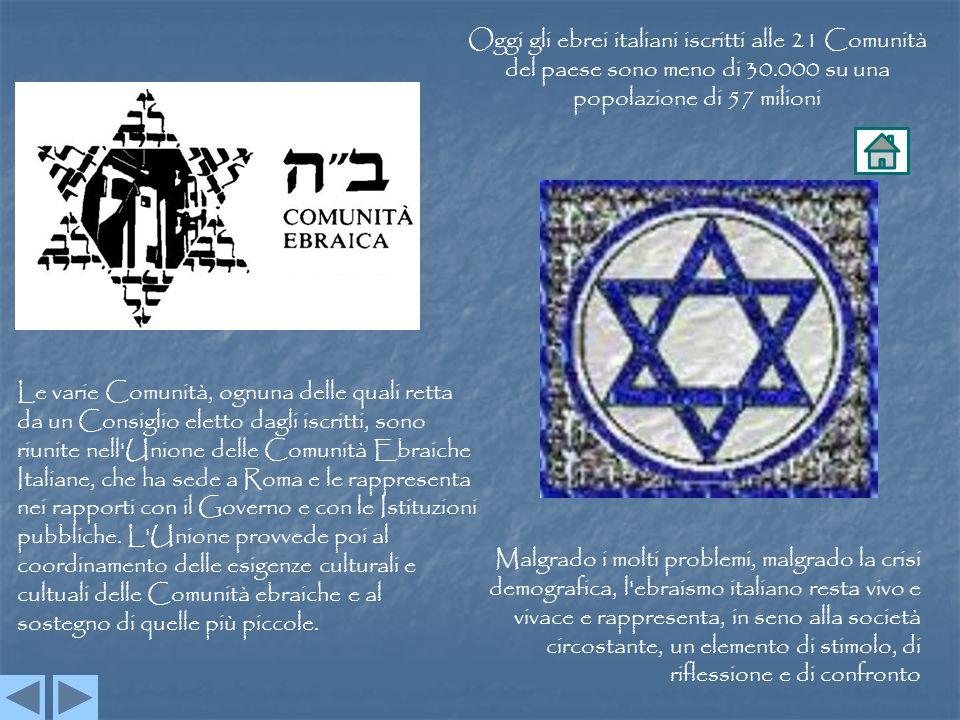 Oggi gli ebrei italiani iscritti alle 21 Comunità del paese sono meno di 30.000 su una popolazione di 57 milioni Le varie Comunità, ognuna delle quali retta da un Consiglio eletto dagli iscritti, sono riunite nell Unione delle Comunità Ebraiche Italiane, che ha sede a Roma e le rappresenta nei rapporti con il Governo e con le Istituzioni pubbliche.