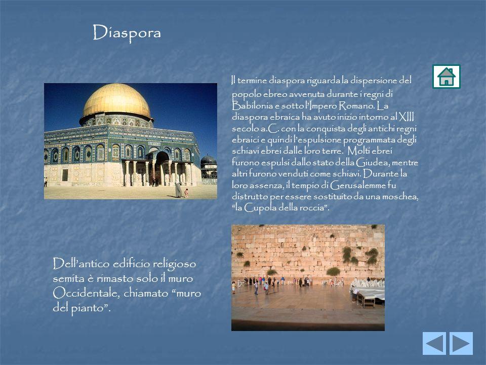 Il termine diaspora riguarda la dispersione del popolo ebreo avvenuta durante i regni di Babilonia e sotto lImpero Romano.