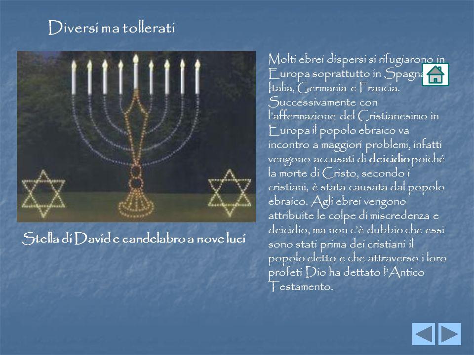 Diversi ma tollerati Molti ebrei dispersi si rifugiarono in Europa soprattutto in Spagna, Italia, Germania e Francia.