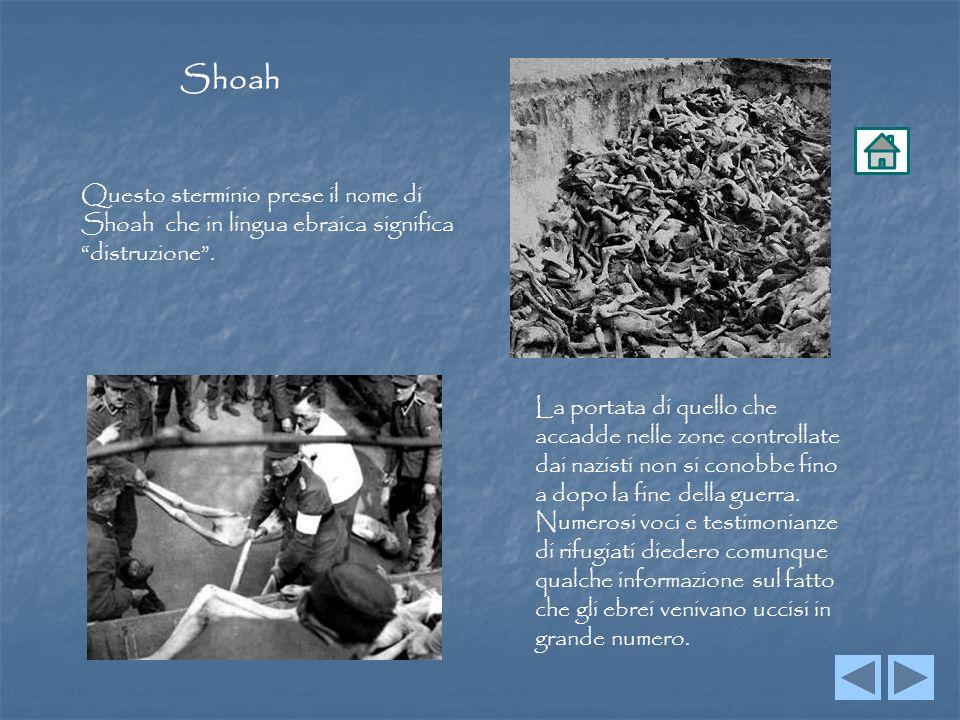Shoah Questo sterminio prese il nome di Shoah che in lingua ebraica significa distruzione. La portata di quello che accadde nelle zone controllate dai
