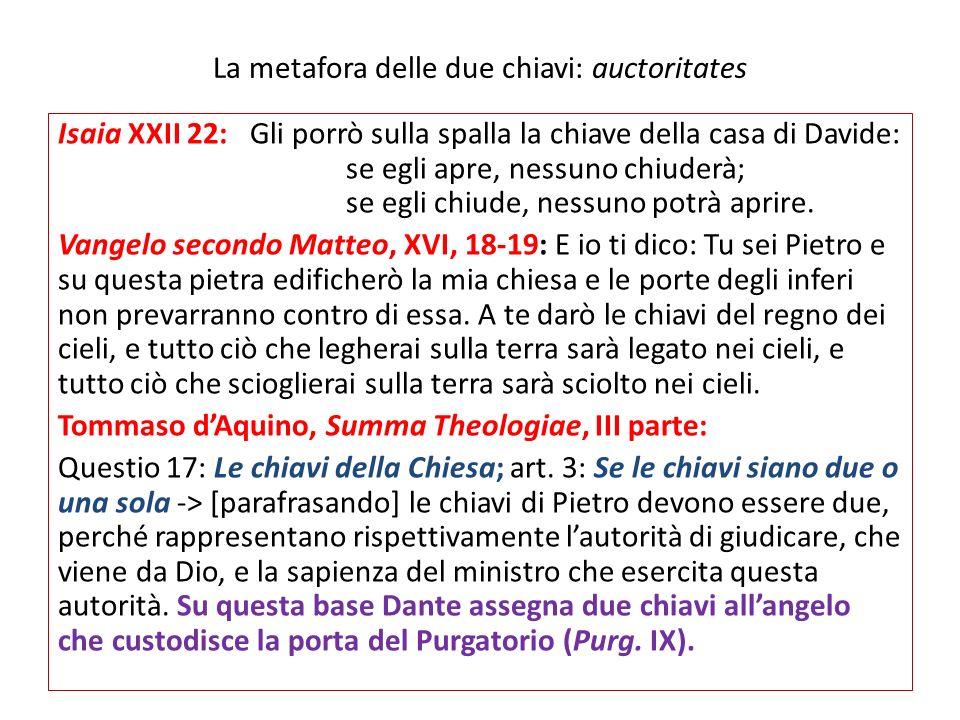 La metafora delle due chiavi: auctoritates Isaia XXII 22:Gli porrò sulla spalla la chiave della casa di Davide: se egli apre, nessuno chiuderà; se egl