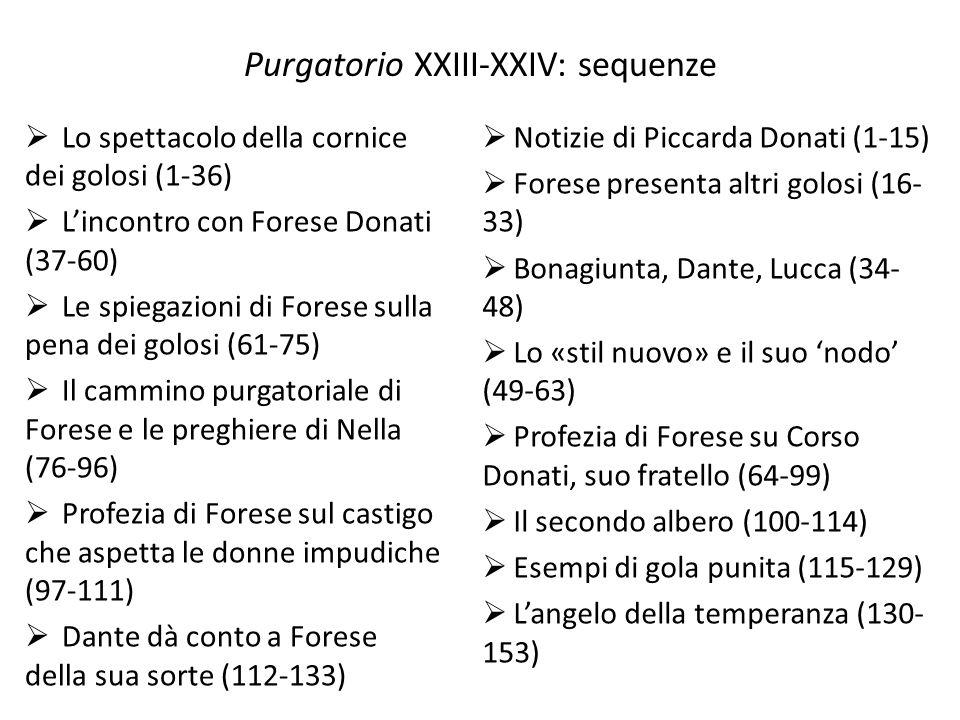 Purgatorio XXIII-XXIV: sequenze Lo spettacolo della cornice dei golosi (1-36) Lincontro con Forese Donati (37-60) Le spiegazioni di Forese sulla pena