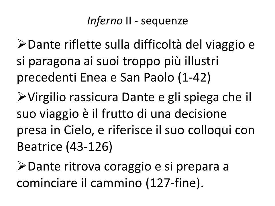 Inferno II - sequenze Dante riflette sulla difficoltà del viaggio e si paragona ai suoi troppo più illustri precedenti Enea e San Paolo (1-42) Virgili