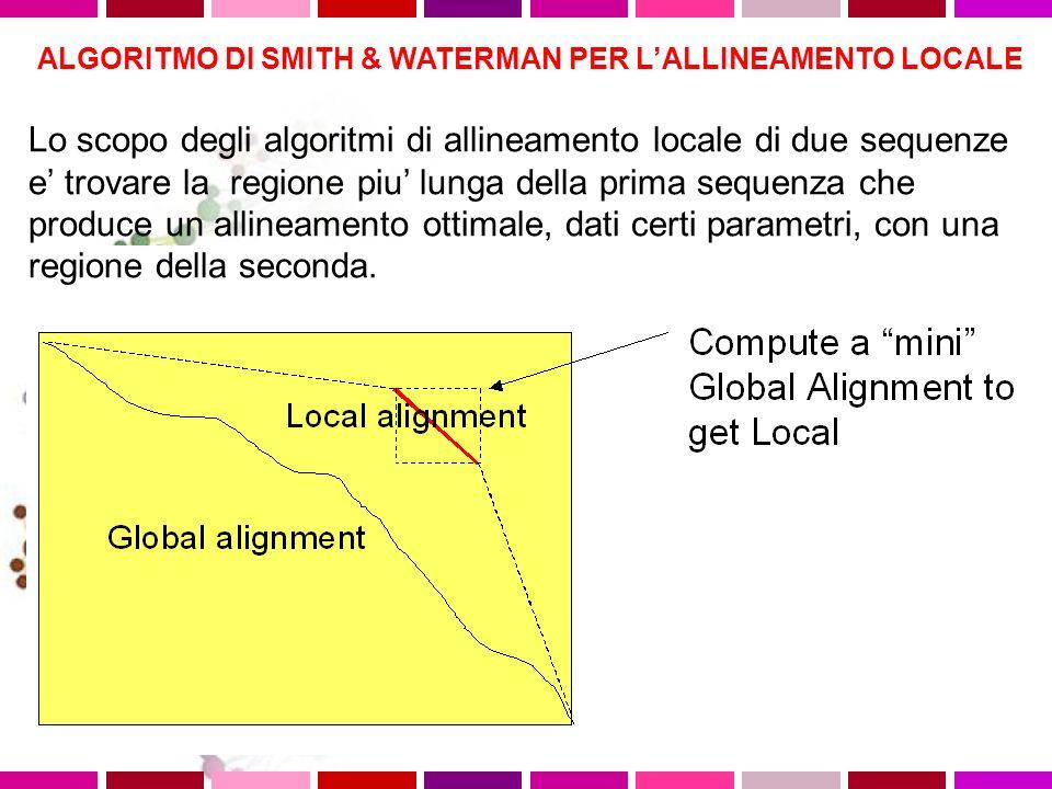 ALGORITMO DI SMITH & WATERMAN PER LALLINEAMENTO LOCALE Lo scopo degli algoritmi di allineamento locale di due sequenze e trovare la regione piu lunga