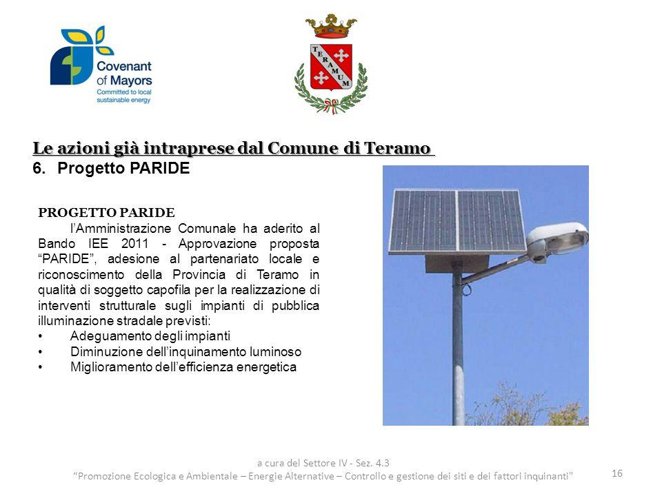 Le azioni già intraprese dal Comune di Teramo 6.Progetto PARIDE 16 a cura del Settore IV - Sez. 4.3 Promozione Ecologica e Ambientale – Energie Altern