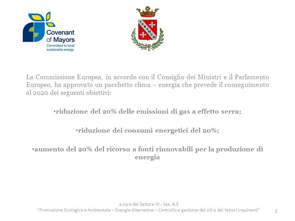 La Commissione Europea, in accordo con il Consiglio dei Ministri e il Parlamento Europeo, ha approvato un pacchetto clima – energia che prevede il con