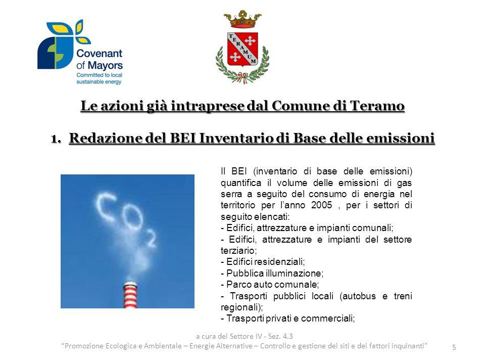 Le azioni già intraprese dal Comune di Teramo 1.Redazione del BEI Inventario di Base delle emissioni 5 a cura del Settore IV - Sez. 4.3 Promozione Eco