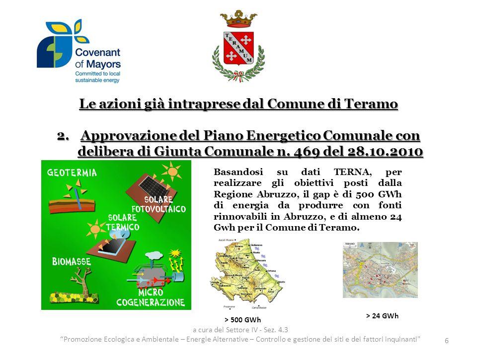 Le azioni già intraprese dal Comune di Teramo 2.Approvazione del Piano Energetico Comunale con delibera di Giunta Comunale n.