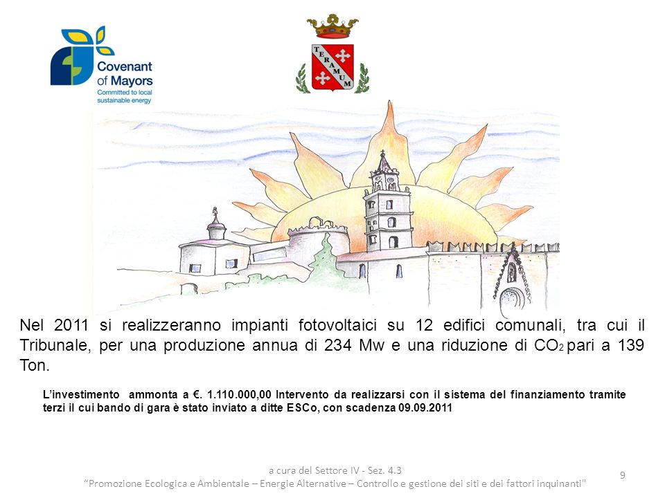 Con Delibera di Giunta Regionale n.39, del 24.01.2011, il Comune di Teramo, ha avuto assegnati,.