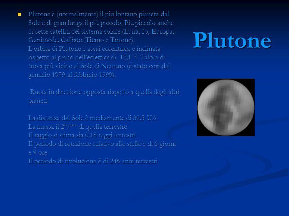 Plutone Plutone è (normalmente) il più lontano pianeta dal Sole e di gran lunga il più piccolo. Più piccolo anche di sette satelliti del sistema solar