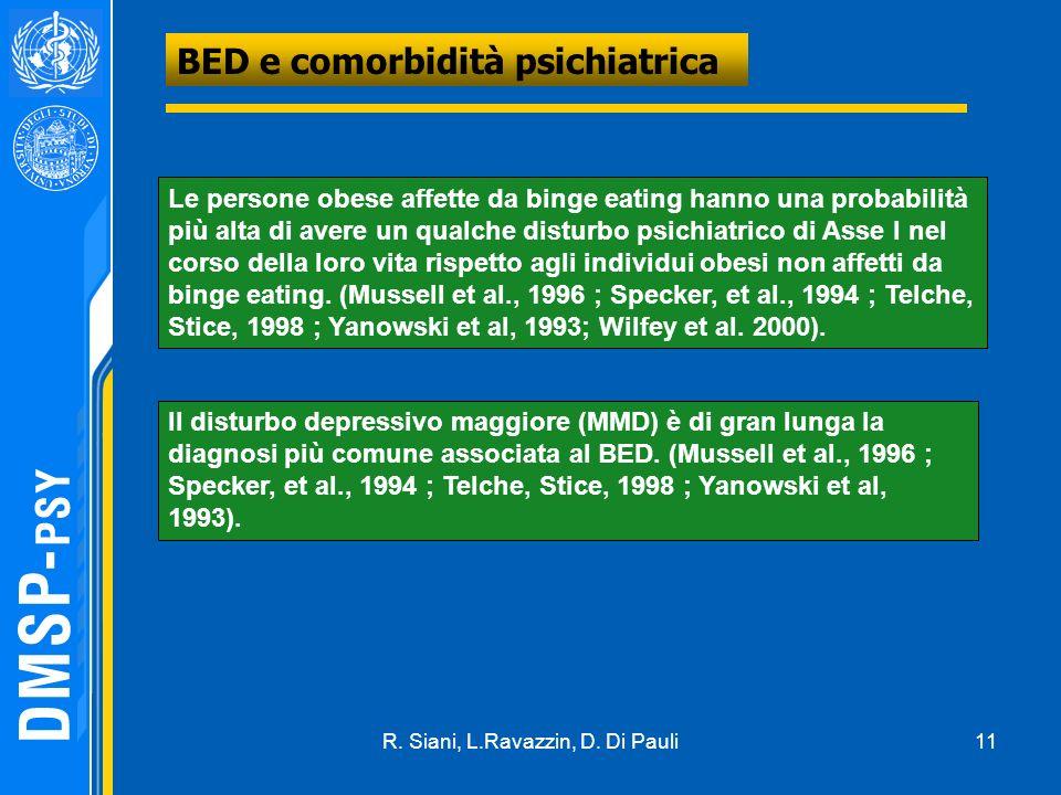 11 BED e comorbidità psichiatrica Le persone obese affette da binge eating hanno una probabilità più alta di avere un qualche disturbo psichiatrico di Asse I nel corso della loro vita rispetto agli individui obesi non affetti da binge eating.