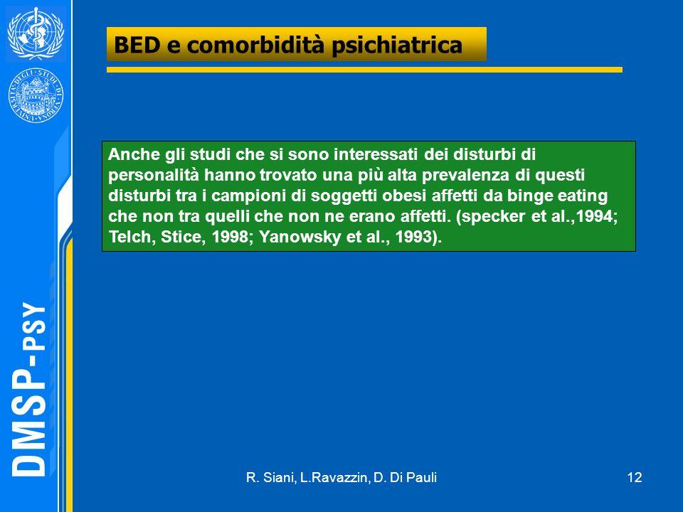 12 BED e comorbidità psichiatrica Anche gli studi che si sono interessati dei disturbi di personalità hanno trovato una più alta prevalenza di questi disturbi tra i campioni di soggetti obesi affetti da binge eating che non tra quelli che non ne erano affetti.