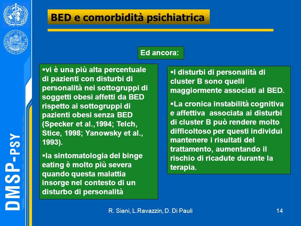 14 BED e comorbidità psichiatrica Ed ancora: I disturbi di personalità di cluster B sono quelli maggiormente associati al BED. La cronica instabilità