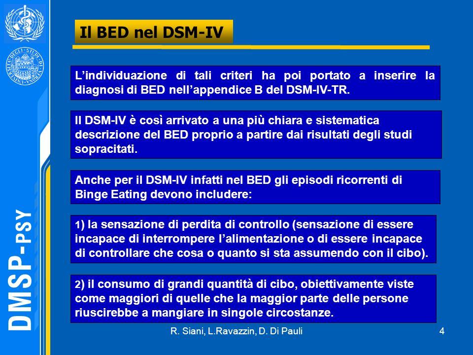 4 Il BED nel DSM-IV Lindividuazione di tali criteri ha poi portato a inserire la diagnosi di BED nellappendice B del DSM-IV-TR. Il DSM-IV è così arriv
