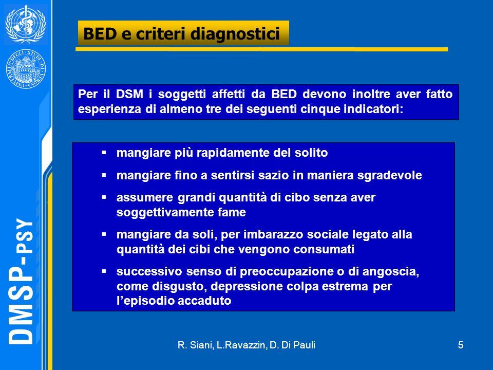 5 BED e criteri diagnostici Per il DSM i soggetti affetti da BED devono inoltre aver fatto esperienza di almeno tre dei seguenti cinque indicatori: ma
