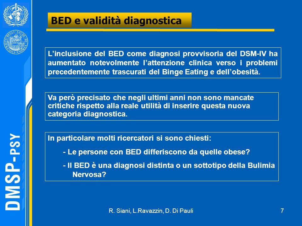 7 BED e validità diagnostica Linclusione del BED come diagnosi provvisoria del DSM-IV ha aumentato notevolmente lattenzione clinica verso i problemi precedentemente trascurati del Binge Eating e dellobesità.