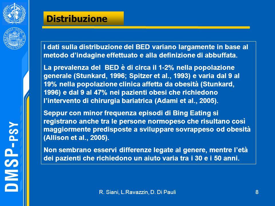 8 Distribuzione I dati sulla distribuzione del BED variano largamente in base al metodo dindagine effettuato e alla definizione di abbuffata. La preva