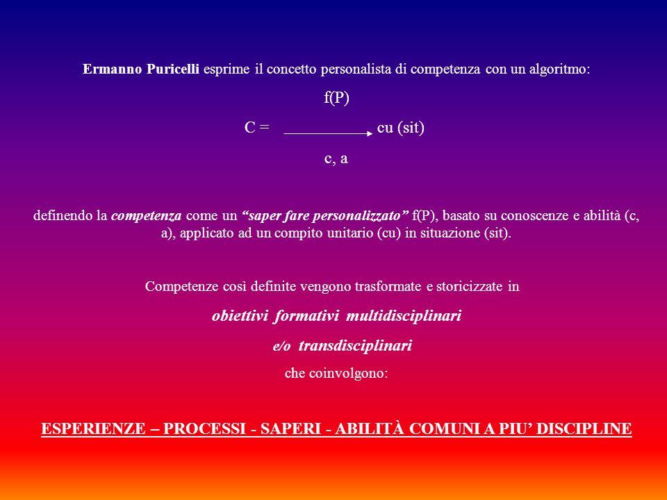 Ermanno Puricelli esprime il concetto personalista di competenza con un algoritmo: f(P) C = cu (sit) c, a definendo la competenza come un saper fare p