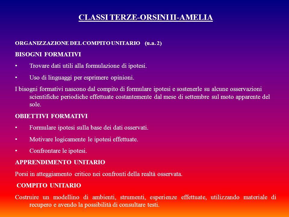 CLASSI TERZE-ORSINI II-AMELIA ORGANIZZAZIONE DEL COMPITO UNITARIO (u.a. 2) BISOGNI FORMATIVI Trovare dati utili alla formulazione di ipotesi. Uso di l