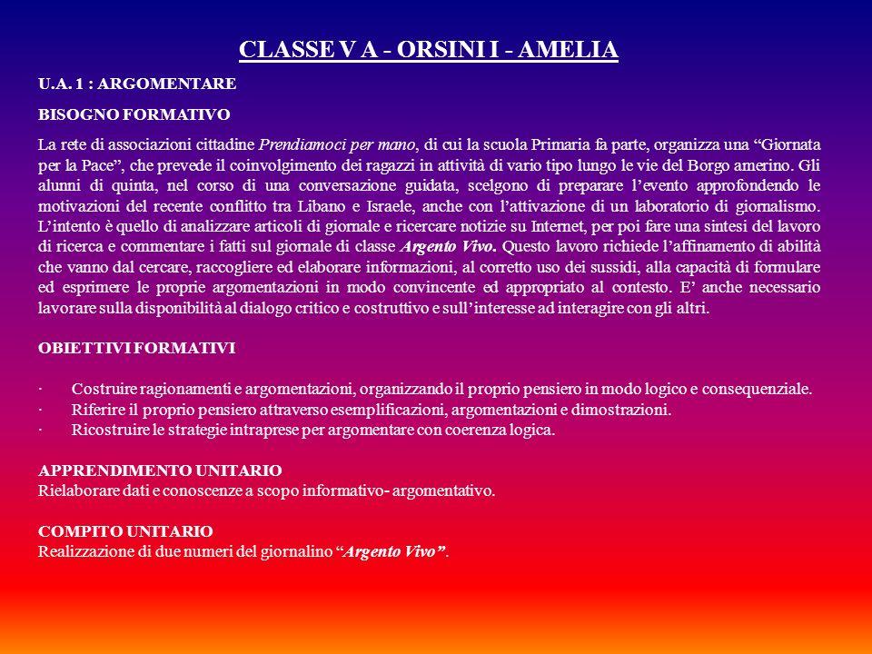 CLASSE V A - ORSINI I - AMELIA U.A. 1 : ARGOMENTARE BISOGNO FORMATIVO La rete di associazioni cittadine Prendiamoci per mano, di cui la scuola Primari