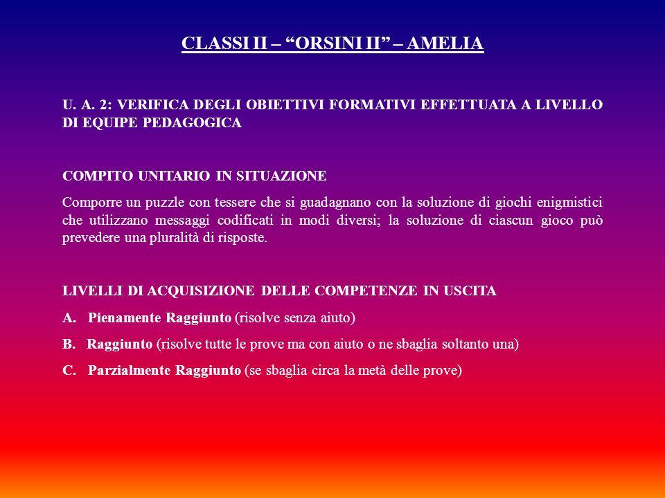 CLASSI II – ORSINI II – AMELIA U. A. 2: VERIFICA DEGLI OBIETTIVI FORMATIVI EFFETTUATA A LIVELLO DI EQUIPE PEDAGOGICA COMPITO UNITARIO IN SITUAZIONE Co