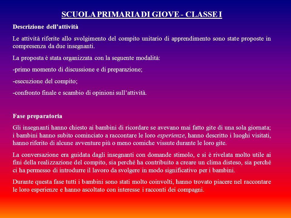 SCUOLA PRIMARIA DI GIOVE - CLASSE I Descrizione dellattività Le attività riferite allo svolgimento del compito unitario di apprendimento sono state pr