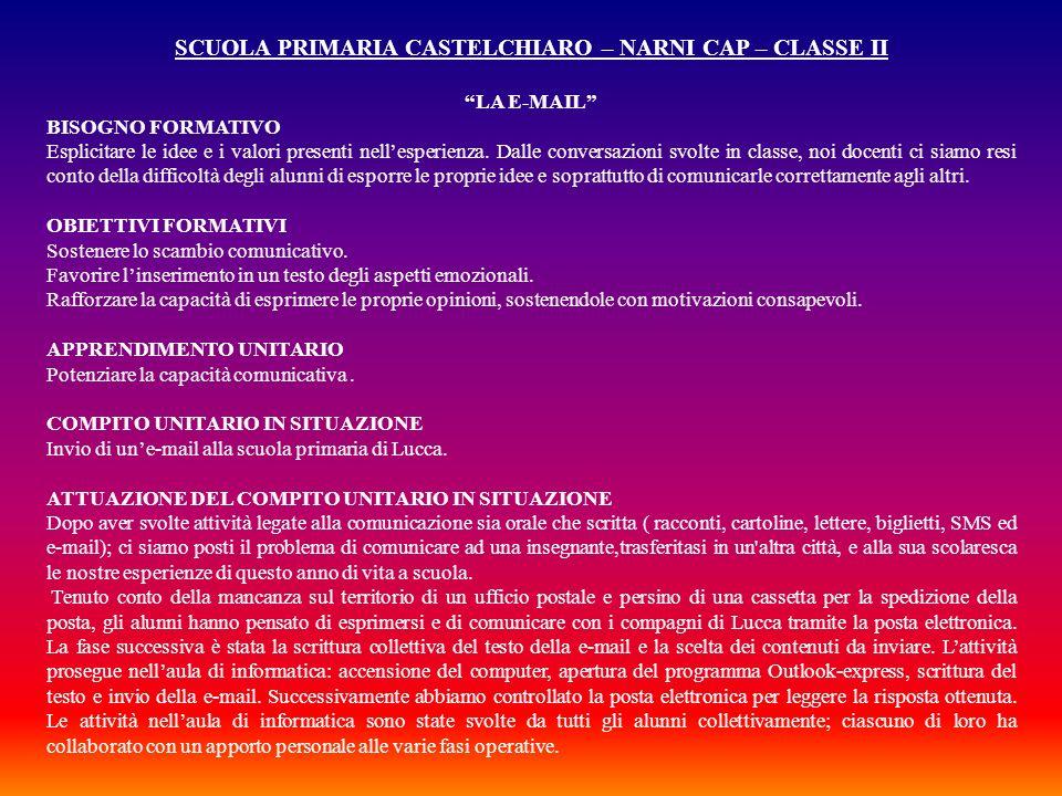 SCUOLA PRIMARIA CASTELCHIARO – NARNI CAP – CLASSE II LA E-MAIL BISOGNO FORMATIVO Esplicitare le idee e i valori presenti nellesperienza. Dalle convers